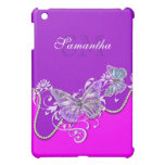 Pink purple butterfly monogram iPad mini cases