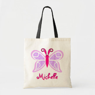 Pink Purple Butterfly Name Tote Bag