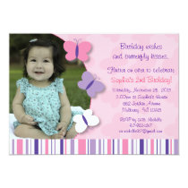 Pink & Purple Butterfly Photo Birthday Invitation
