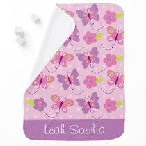 Pink & Purple Butterfly Stroller Blanket