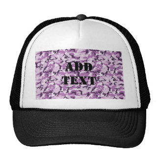 Pink & Purple Camouflage Background Hats