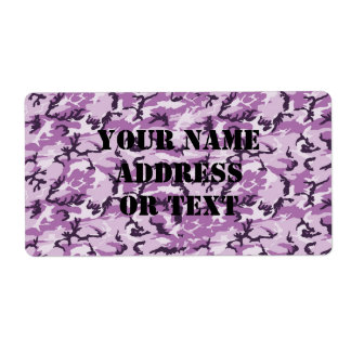 Pink & Purple Camouflage Background Label