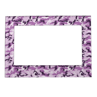 Pink & Purple Camouflage Background Magnetic Picture Frame