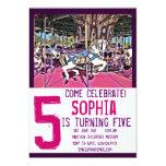 Pink Purple Carousel Horse Birthday Invitations