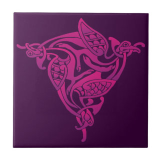 Pink Purple Celtic Bird Tile
