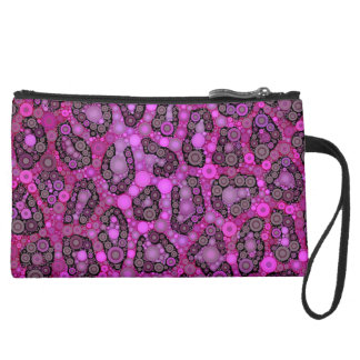 Pink Purple Cheetah Abstract Suede Wristlet