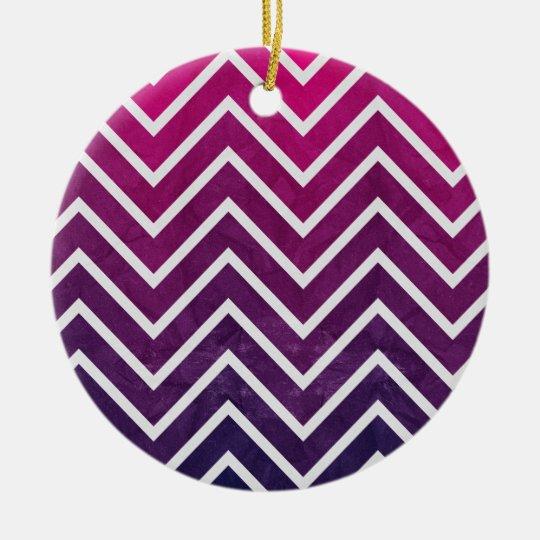 Pink Purple Chevron Ceramic Ornament