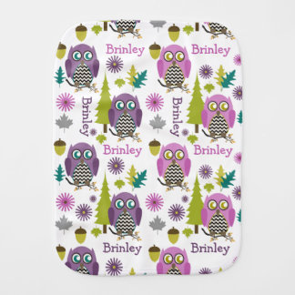 Pink + Purple Chevron Owls Personalized Burp Cloth