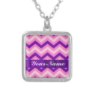 Pink & purple chevron square pendant necklace