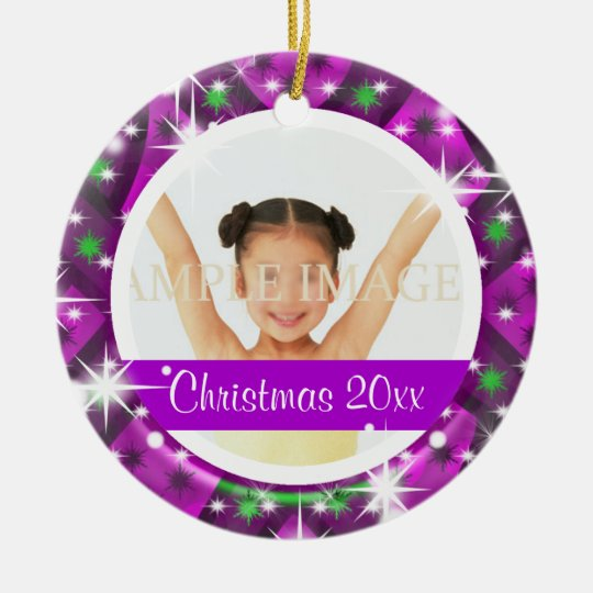 Pink purple Christmas photo personalize Ceramic Ornament