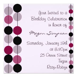 Pink & Purple Circle Design Birthday Invitation
