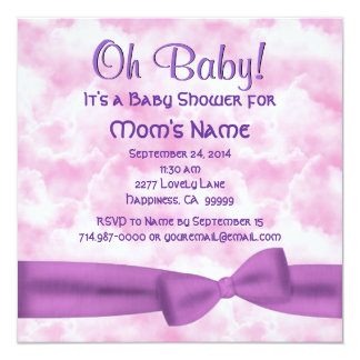 Pink Purple Clouds Bow and Leopar Baby Girl Shower Card