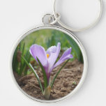 Pink Purple Crocus Vernus Flower Silver-Colored Round Keychain