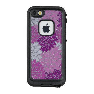 Pink Purple Dahlia flowers, silver glitter LifeProof FRĒ iPhone SE/5/5s Case