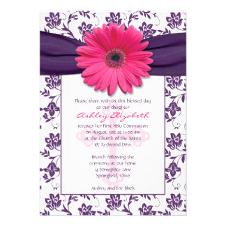 Pink Purple Daisy First Communion Invitation