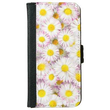 Pink Purple Daisy Flower Pattern iPhone 6/6s Wallet Case