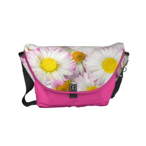 Pink Purple Daisy Flower Pattern Small Messenger Bag