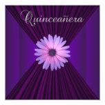 Pink Purple Daisy Purple Quinceanera Invitations
