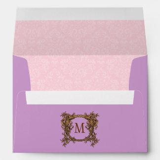 Pink & Purple Damask Crest Monogrammed Envelopes