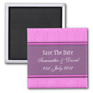 Pink Purple Damask Monogram Save The Date 2 Inch Square Magnet