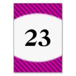 [ Thumbnail: Pink/Purple Diagonal Stripes + Splatter Shape Table Number ]