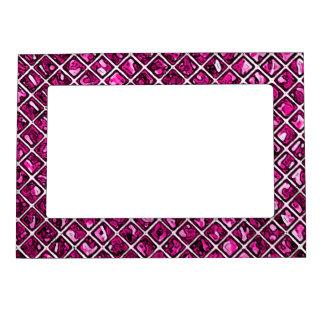 Pink Purple Diamond Pattern Magnetic Photo Frames