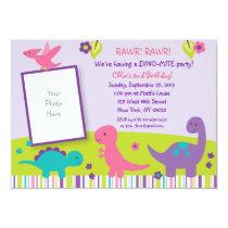 Pink & Purple Dinosaur 1st Birthday Invitation