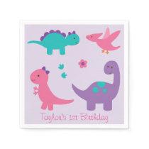 Pink & Purple Dinosaur Baby Shower Napkin
