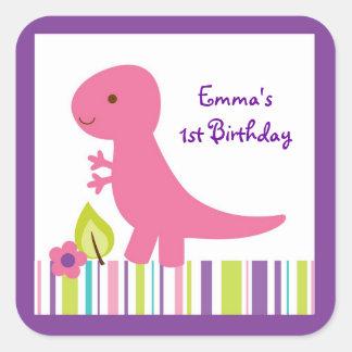 Pink & Purple Dinosaur Baby Shower Square Sticker