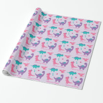 Pink & Purple Dinosaur Baby Shower Wrapping Paper