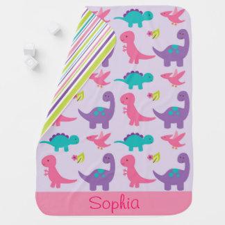 Pink & Purple Dinosaur Receiving Blanket
