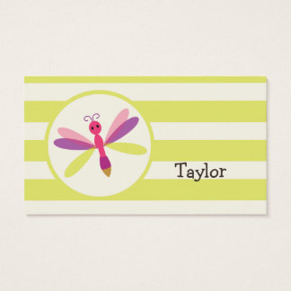 Pink & Purple Dragonfly on Lime Green Stripes Business Card
