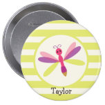 Pink & Purple Dragonfly on Lime Green Stripes Pins