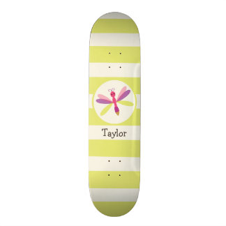 Pink & Purple Dragonfly on Lime Green Stripes Skateboard Deck