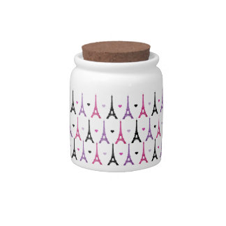 Pink & Purple Eiffel Tower pattern Candy Jar