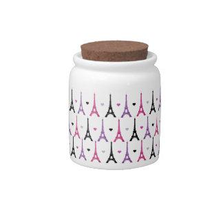 Pink & Purple Eiffel Tower pattern Candy Jars