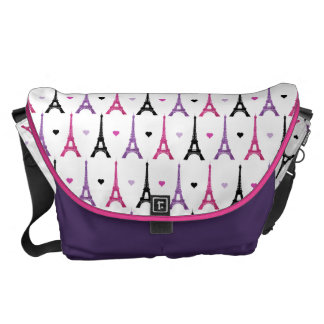 Pink & Purple Eiffel Tower pattern Courier Bags