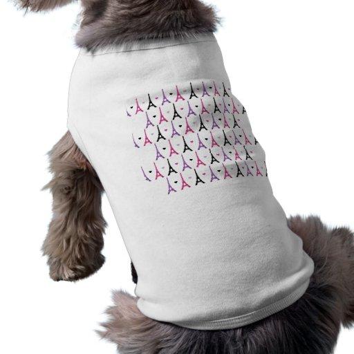 Pink & Purple Eiffel Tower pattern Dog Shirt