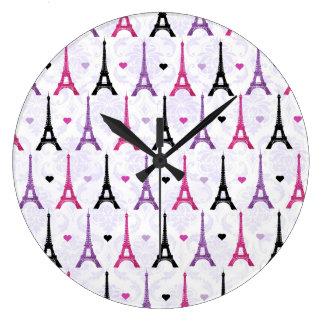 Pink & Purple Eiffel Tower pattern Large Clock