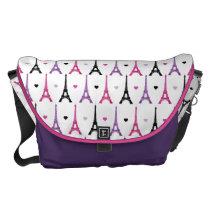 Pink & Purple Eiffel Tower pattern Messenger Bag