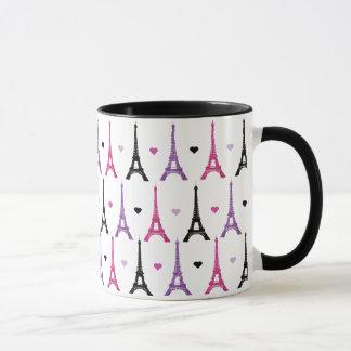 Pink & Purple Eiffel Tower pattern Mug