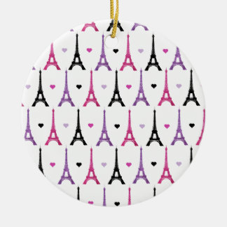 Pink Purple Eiffel Tower pattern Ornaments