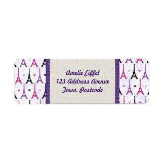 Pink & Purple Eiffel Tower pattern Return Address Label