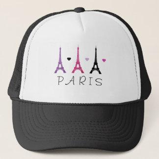 Pink & Purple Eiffel Tower pattern Trucker Hat
