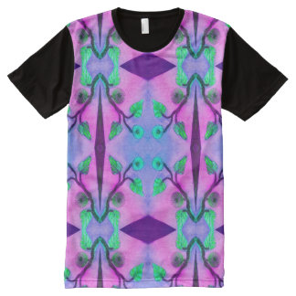 Pink Purple Floral Abstract All-Over Print T-shirt