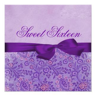 Pink & Purple Floral Bow Birthday Invitation