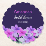 """Pink Purple Floral Bridal Shower Paper Coaster<br><div class=""""desc"""">Feminine pink,  lilac,  green floral design with a purple blue background. Customize for your bride  showers,  wedding reception,  anniversaries,  parties or any special celebration! Coordinating items available in my store.</div>"""