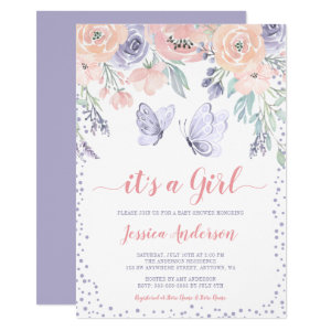 pink and purple butterfly baby shower invitations floral