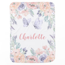 Pink Purple Floral Butterfly Personalized Girl Baby Blanket