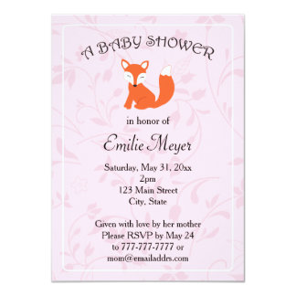 Pink Purple Floral Fox Woodland Baby Shower Card
